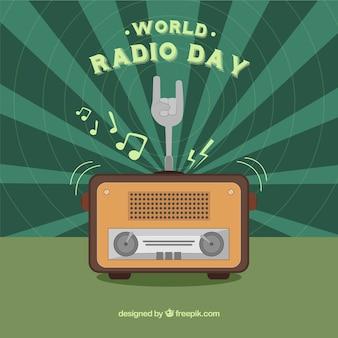 Sunburst wereld radio dag achtergrond met groene informatie