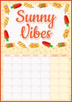 Sunny vibes. kleurrijke maandelijkse kalender met ijs elementen. lekkere zomerplanner