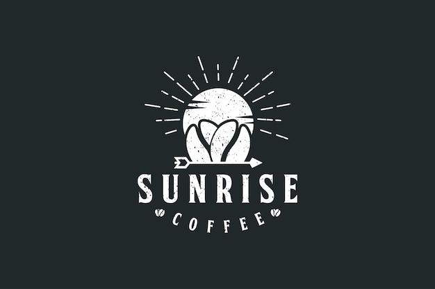 Sunrise koffie-logo met vintage logo-ontwerp