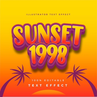 Sunset 1998 illustrator teksteffect
