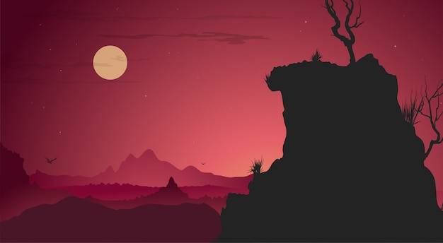 Sunset landschap achtergrond