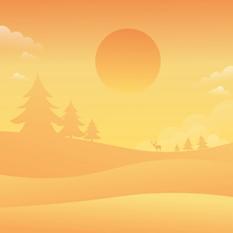 Sunsey sky landscape nature background vlakke stijl vectorillustratie