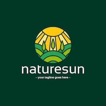 Sunshine natuurlijke landschap logo sjabloon