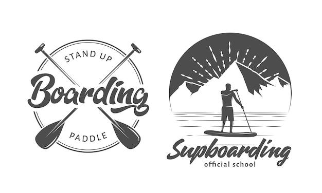 Sup boarding logo's sta op peddelen badges set vector emblemen met sup boards