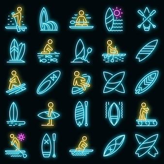 Sup surfen pictogrammen instellen. overzicht set van sup surfen vector iconen neon kleur op zwart