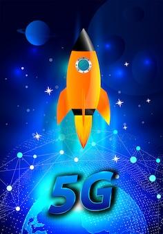 Super 5g-evolutie. start raket. draadloos netwerk met wereldwijd snelheidsconcept