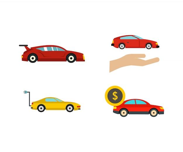 Super auto pictogramserie. platte set van super auto vector iconen collectie geïsoleerd