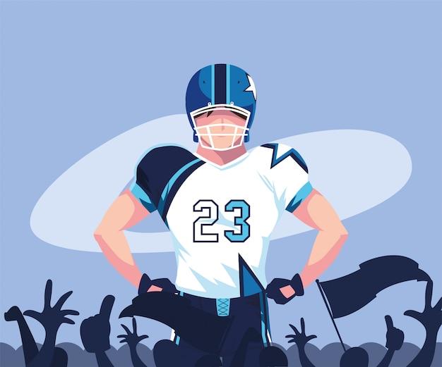 Super bowl speler met helm illustratie