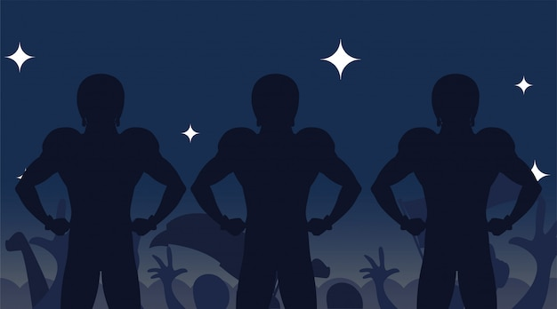 Super bowl spelers silhouetten illustratie