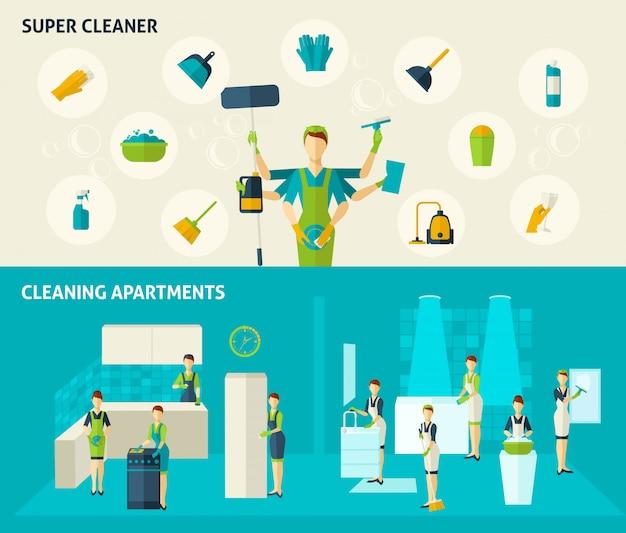 Super cleaner flat banners set
