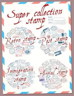Super collectie stempel retro post immigratie en luchtpost stempel paspoortzegels