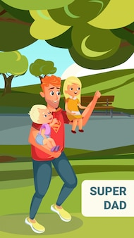 Super dad cartoon man hold little kids
