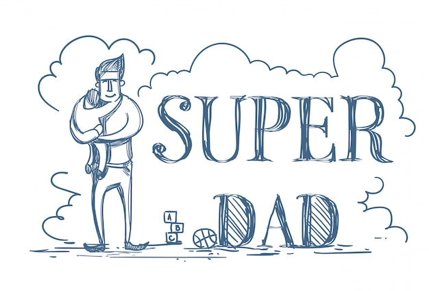 Super dad doodle poster met man omhelzen kid