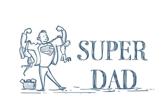 Super dad holding kids zoon en dochter doodle op wit