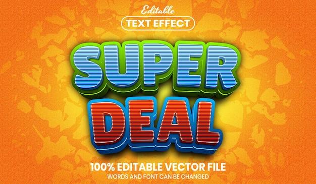 Super deal-tekst, bewerkbaar teksteffect in lettertypestijl