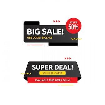 Super deal verkoop banner sjabloonontwerp, grote verkoop speciale aanbieding. einde seizoen speciale aanbieding banner. abstract promotie grafisch element.