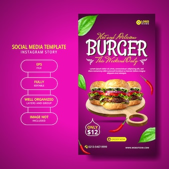 Super delicious burger and food-menu social media post story template-promotie