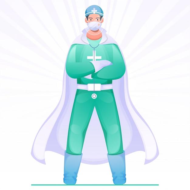 Super doctor hero draagt een pbm-set voor de bestrijding van het coronavirus (covid-19).