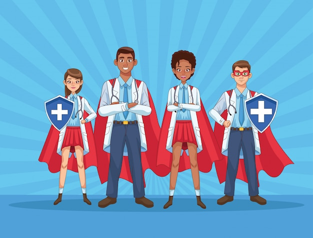 Super dokterspersoneel met heldenmantels en schild