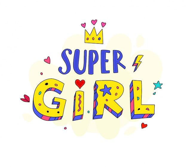 Super girl logo belettering illustratie.