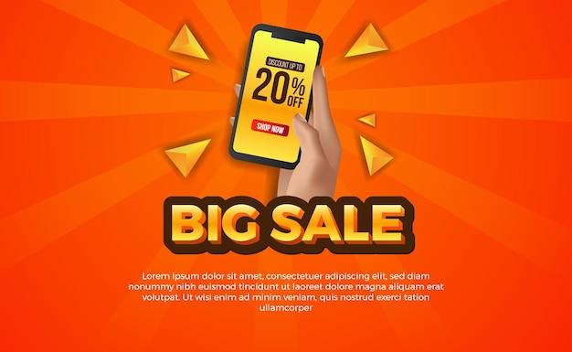 Super grote verkoopaanbieding sjabloon voor spandoek met hand met telefoon