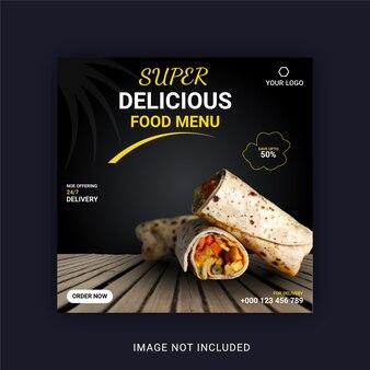 Super heerlijk eten menu instagram banner social media post template