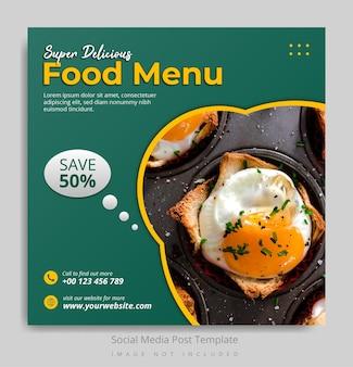 Super heerlijk eten menu social media postsjabloon