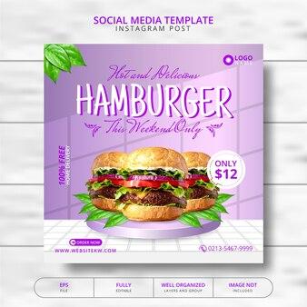 Super heerlijke hamburger en eten menu social media post template-promotie