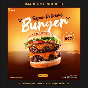 Super heerlijke hamburger sociale media post ontwerpsjabloon vector