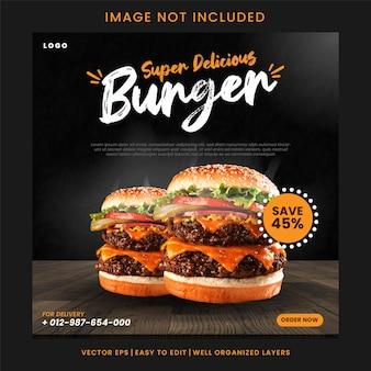 Super heerlijke hamburger sociale media post sjabloon vector
