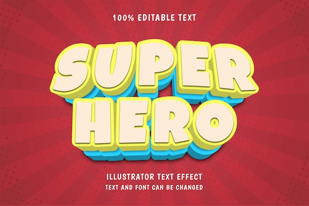 Super held, 3d bewerkbare teksteffect moderne komische schaduwstijl