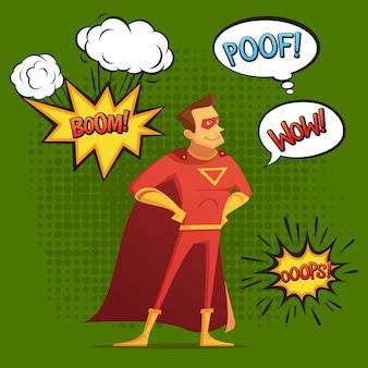 Super held in rood kostuum, compositie met geluid en emotie bubbels groene achtergrond komische stijl