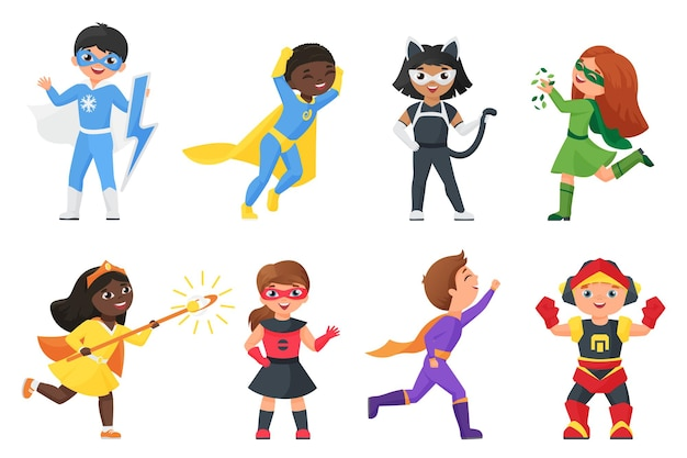 Super held kinderen set, kinderen in kleurrijke kostuums voor feest