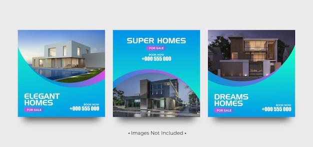 Super huis te koop social media postsjablonen