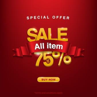 Super korting, speciale aanbieding verkoop alle items tot 75%