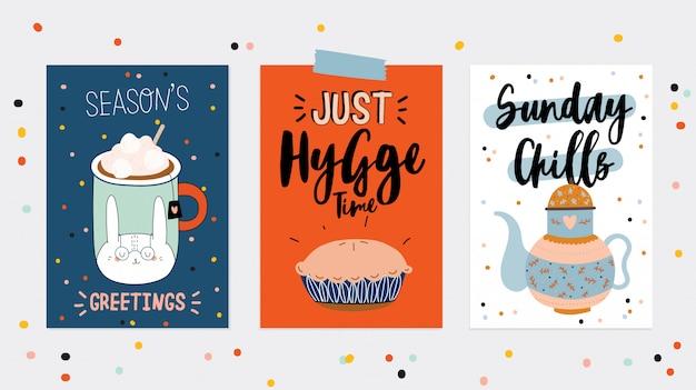 Super leuke set hygge kaartjes en posters. leuke illustratie herfst en winter hygge elementen. . motiverende typografie van hygge-citaten. scandinavische stijl