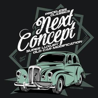 Super luxeautowijziging, illustratie van een klassieke auto