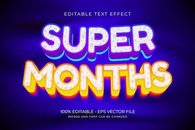 Super maanden bewerkbaar teksteffect premium vector