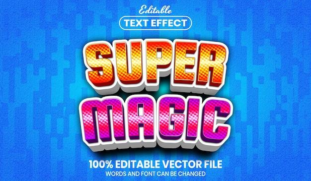 Super magische tekst, bewerkbaar teksteffect in lettertypestijl