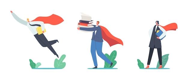 Super medewerkers in rode mantel met documenten in handen vliegen, zakelijk succes, leiderschap, professionaliteit concept met superheld mannelijke en vrouwelijke personages. cartoon mensen vectorillustratie