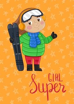 Super meisje kinderen briefkaartsjabloon