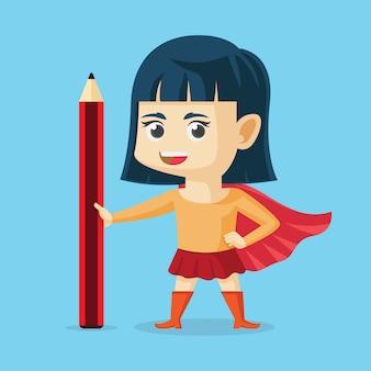 Super meisje terug naar school platte ontwerp vectorillustratie