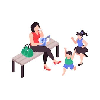 Super moeder praat aan de telefoon en leest een tijdschrift terwijl haar kinderen 3d isometrische illustratie lopen