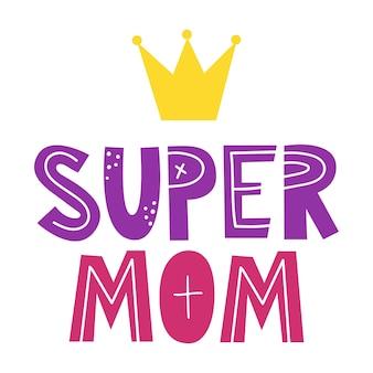 Super mom handgetekende illustratie voor moederdag