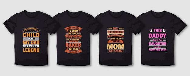 Super papa moeder typografie t-shirt ontwerpset