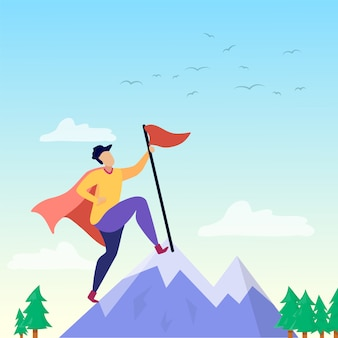 Super person on mountain peak succesmotivatie