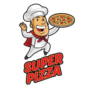 Super pizza logo mascotte sjabloon