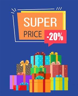 Super prijs -20% korting op verkoop illustratie