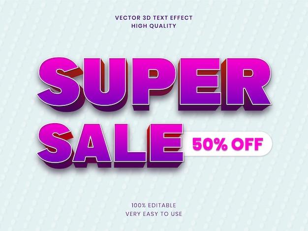 Super sale 3d-tekststijleffectsjabloon premium vector