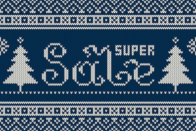 Super sale banner in traditionele fair isle gebreide trui stijl. naadloze achtergrond